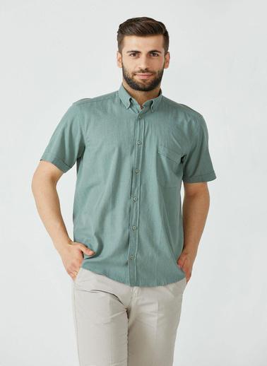 Sementa Erkek Düz Kısa Kol Gömlek - Haki Haki